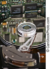 Computer hard drive - Closeup and macro view of hard drive...