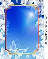 Golden frame and white flowers - Golden frame, white...