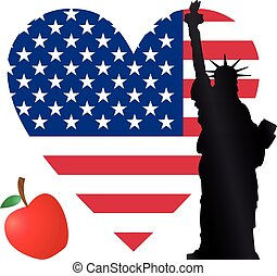heart new york - heart flag usa with statue of liberty and...