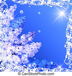 Lilac, bubbles  and sun in a white open-work frame