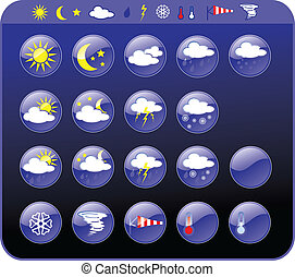 Weather icons - Symbols for the indication of weather Vector...