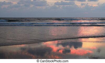 Ocean sunset Baga, Goa, India