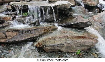 Waterfall cascade - Cascade of Bhagsu waterfall. Bhagsu,...