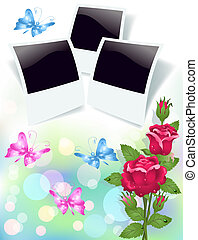 Floral background with roses and photo frame