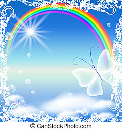 Rainbow and butterfly in grunge frame - Rainbow, clouds and...