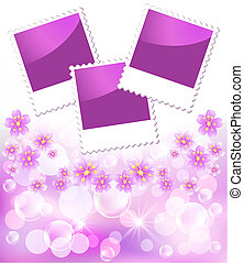 Floral background with photo frame