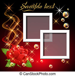 Roses and foto frame - Glowing background with rose,...