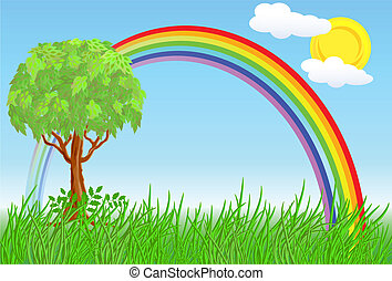 Tree and rainbow on a sunny meadow
