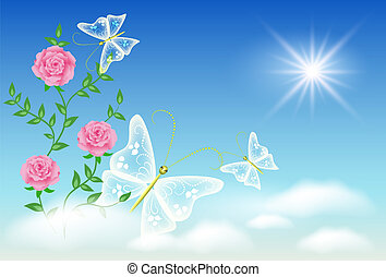 Sky, roses, and  butterflies