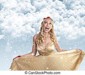 美しい, 祝う, 女の子, クリスマス