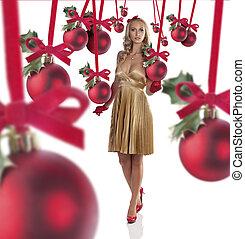 elegant girl dressed for christmas - gorgeous blonde girl in...