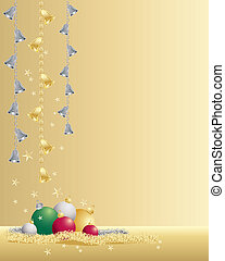 christmas time - an illustration of christmas baubles tinsel...