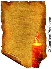 Old paper with candle