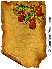 Old paper with Christmas-decorations