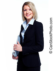Financial adviser business woman. Isolated over white...