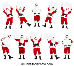 Group of Christmas Santa Claus with poster - Happy Santa...