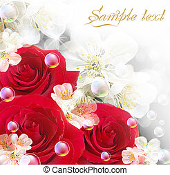 Roses - Card with roses and bubbles