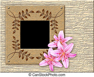 Wooden framework and lily - Wooden stylised framework for a...