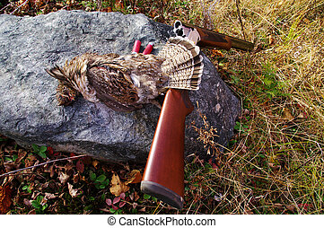 Game Bird - A grouse with the shotgun and shells