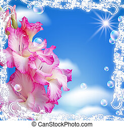 Gladiolus and clouds in a white open-work frame