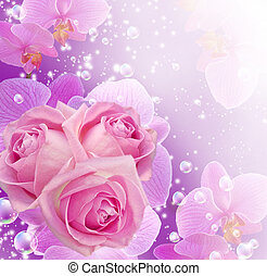 Orchid, roses and bubbles - Card with roses, orchid and...