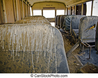 School Bus - Interior view of an abandoned school bus