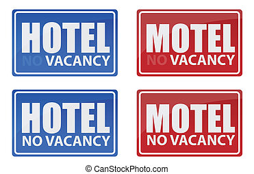 Retro Hotel and Motel signs illustration design