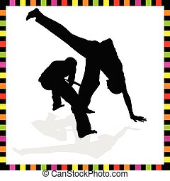 capoeira couple black silhouette of art vector illustration