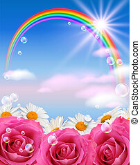 Rainbow and flowers - Sky, flowers, clouds, rainbow and...