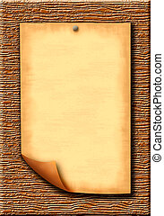 Scroll - Wooden texture background and paper blank leaf