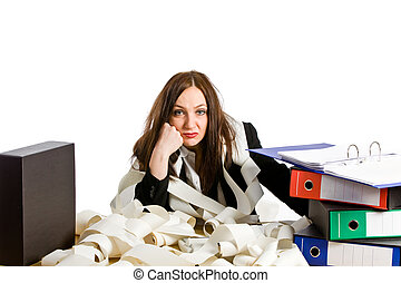 Overworked - photo of overworked woman at her desk on white...
