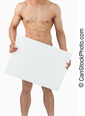 Athletic male body holding banner - Sporty male body holding...