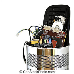 Metal trash can containing computer waste isolated on white...