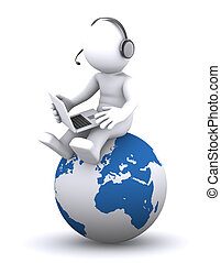 3d character with laptop sitting on the globe
