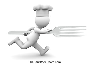 Chef running with fork. Rendered on white backgroung