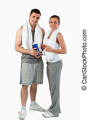 Portrait of a couple going to practice sport