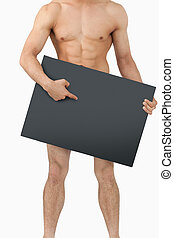 Athletic male body pointing on banner below him - Sporty...