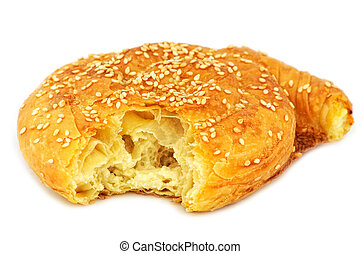 Traditional Cypriot village style cheese pie. Isolated on...