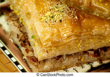Baklava, traditional oriental dessert with syrup