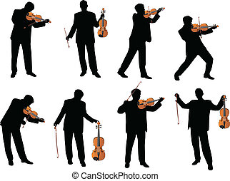 violín, jugador, vector, silueta