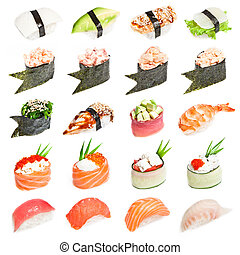 Sushi set - Different types of sushes isolated on white...