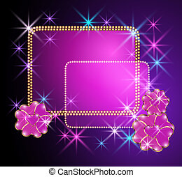 Glowing background with transparent flowers and stars -...