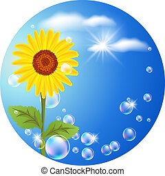 Sunflower, clouds and bubbles - Round background with...