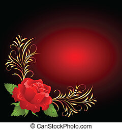 Red rose with golden frame ornament