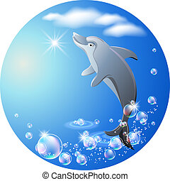 Round background with dolphin, clouds and bubbles - Dolphin...