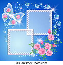 Background with photo frame and butterfly - Magic background...