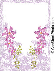 Grunge card with flowers