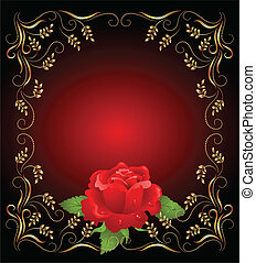 Golden frame wth rose - Red rose with golden frame