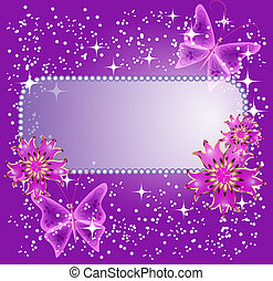Background for text with flowers and butterfly - Background...