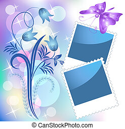 Page layout photo album with flowers and butterflies